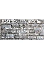 """E&M Tile and Marble Car Decal 26""""W  x 12""""H"""