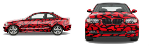 red elephant print Sports Coupe Wrap