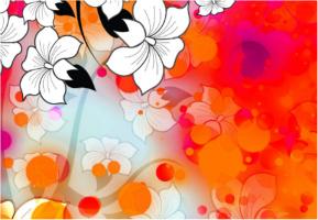 "Tropical Flower Motif Car Decal 26""W  x 18""H"