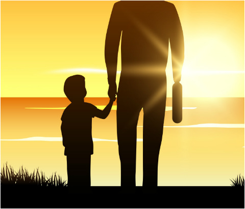 """Father Sunset Car Magnet 14""""W x 12""""H"""