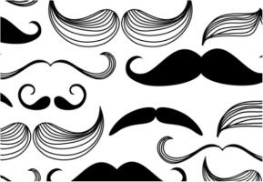 "Black and White Mustaches Car Decal 26""W  x 18""H"