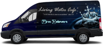 Firm Believers on the move! Transit Van Wrap