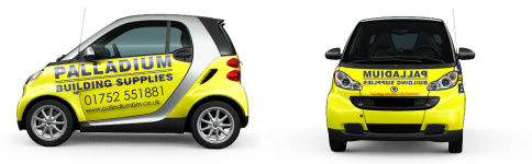 palladium yellow smart car Ultra Compact Wrap