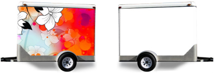 Tropical Flower Motif Trailer Wrap