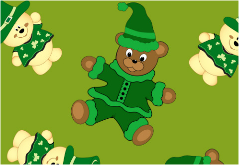 """St Pattys Day Bears Car Decal 26""""W  x 18""""H"""
