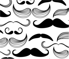 """Black and White Mustaches Car Magnet 14""""W x 12""""H"""