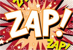 "Zap! Car Decal 26""W  x 18""H"